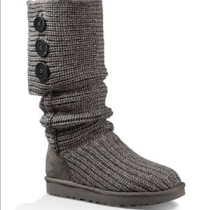 Ugg Lattice Cardy Charcoal Grey Knit Boots 8